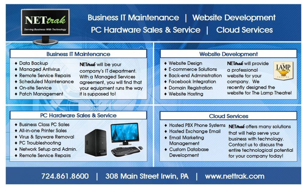 Take a look at everything NETtrak can offer your business.  Please share to anyone t…